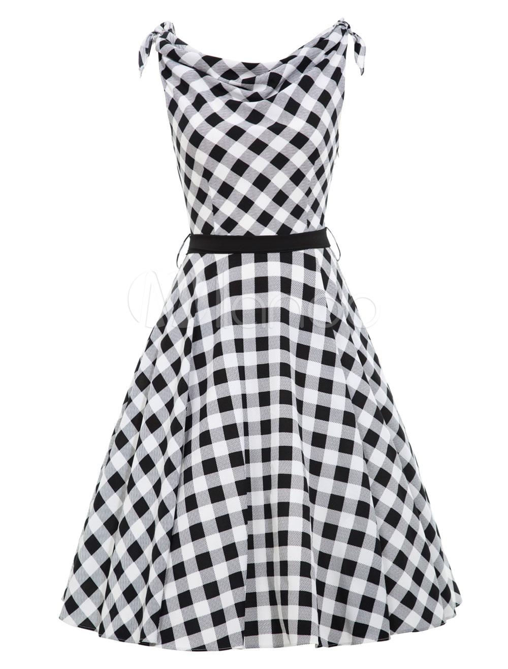 Buy Women Vintage Dress Black Plaid Sleeveless Shoulder Tie Summer A Line Dresses for $28.49 in Milanoo store