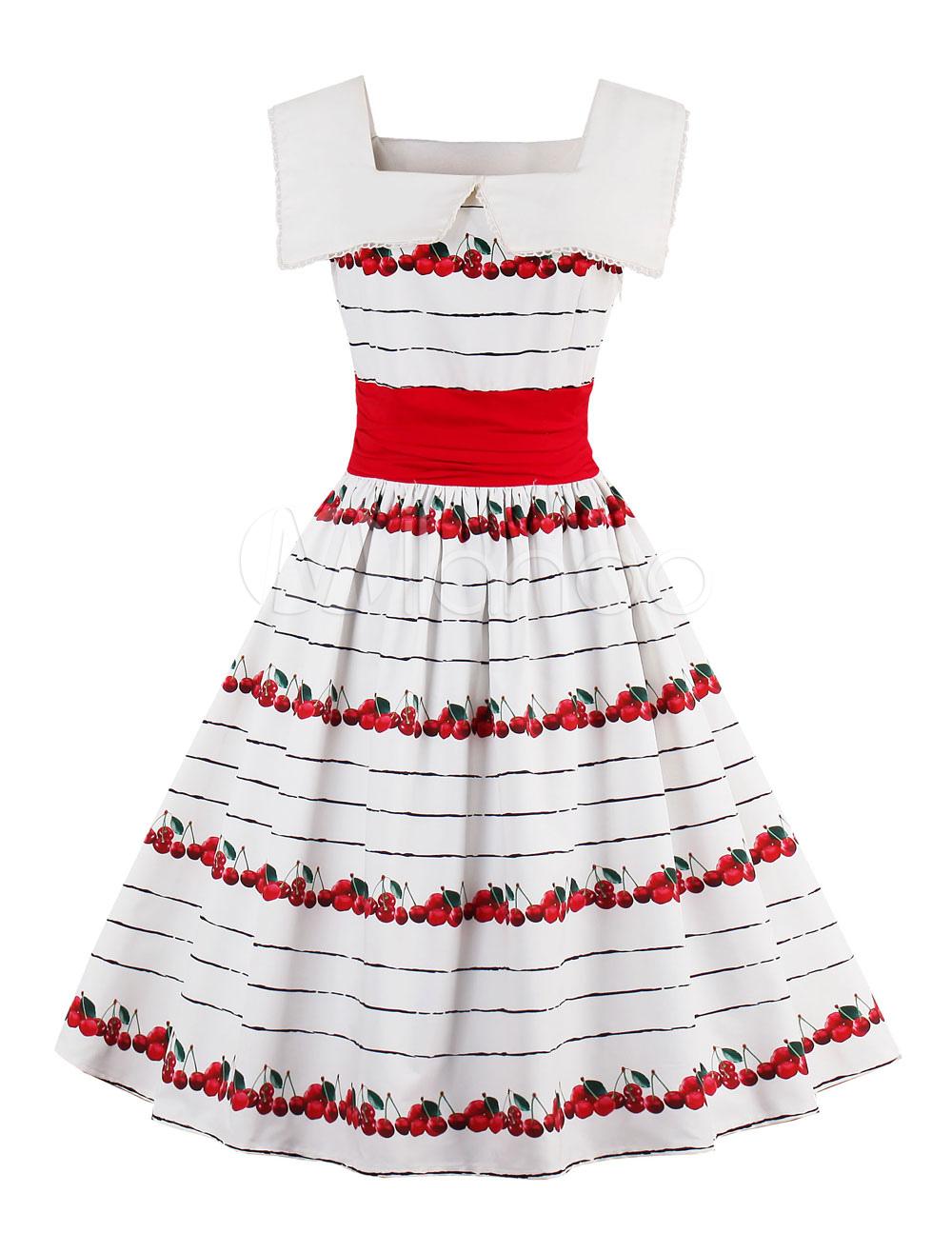 White Vintage Dress Lace Square Neck Sleeveless Fruit Print A Line Women's Short Dresses
