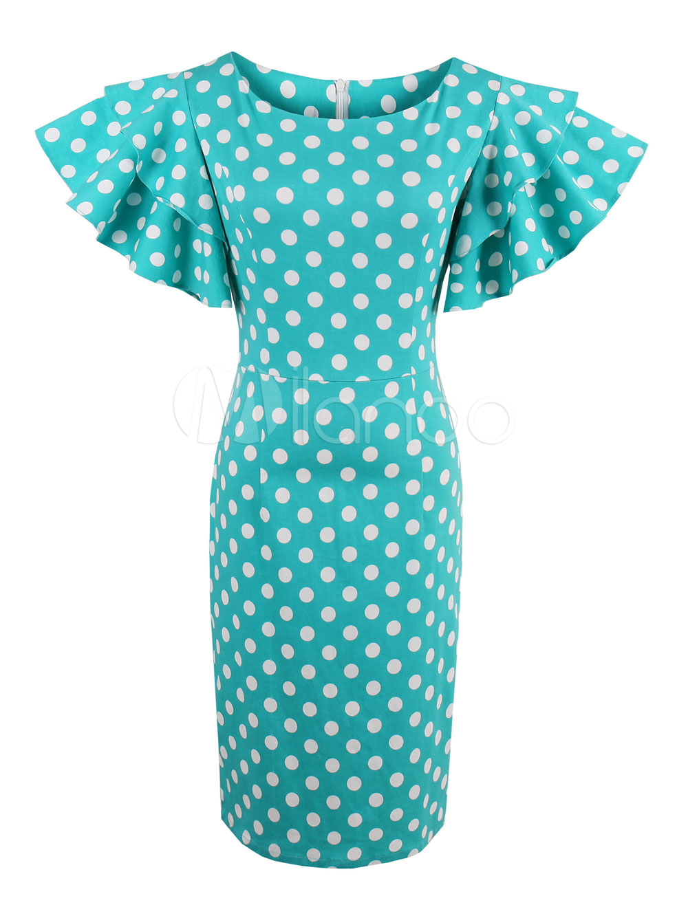 Buy Women's Vintage Dress Polka Dot Round Neck Short Sleeve Ruffles Blue Green Sheath Dress for $28.49 in Milanoo store