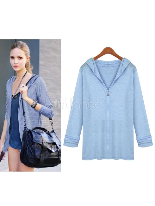 White Women Jacket Hooded Long Sleeve Casual Jackets Cheap clothes, free shipping worldwide