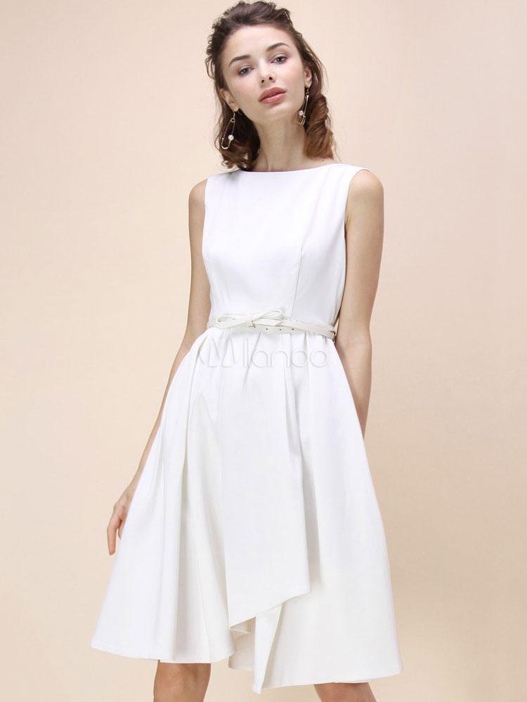 Vestido blanco escote barco