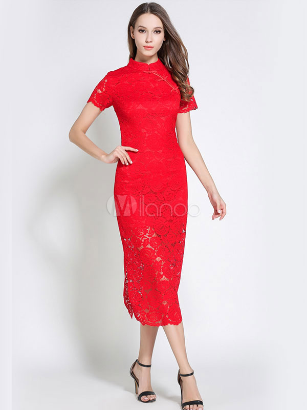 Buy Red Lace Dress Stand Collar Short Sleeve Women's Long Dresses for $38.69 in Milanoo store