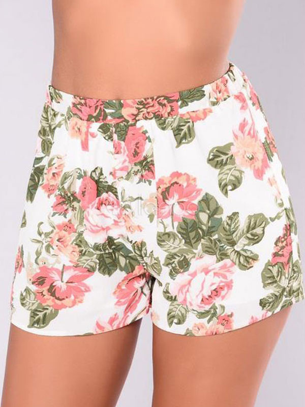 Buy High Waisted Shorts Floral Print Women's White Linen Straight Leg Shorts for $13.49 in Milanoo store