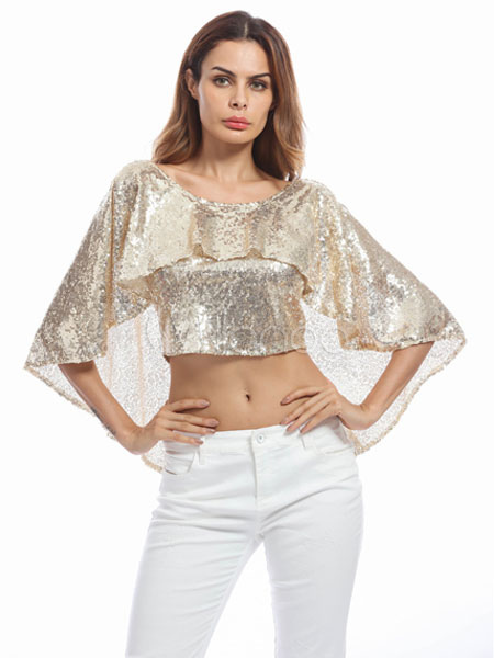 Gold Sequin Top Glitter Cape Round Neck Half Sleeve Crop Top For Women