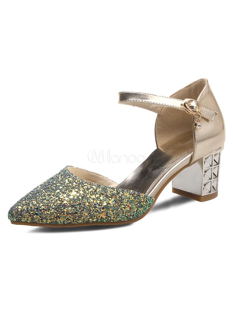 Zapatos Peep toe estilo modernoadornado con encaje de tacón gordo para mujer LeNw2W8o