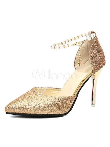 Zapatos de tacón de puntera puntiaguada de tela brillante brillantes de tacón de stiletto bOfDu