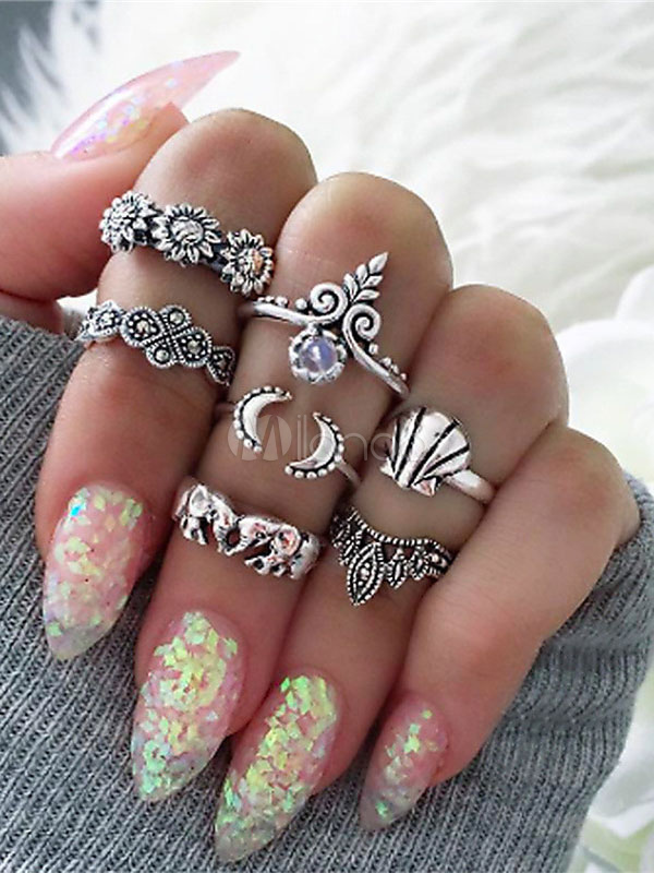 Silver Knuckle Rings Ethnic Style Embossed Gems Women's Ring Set In 7 Pieces