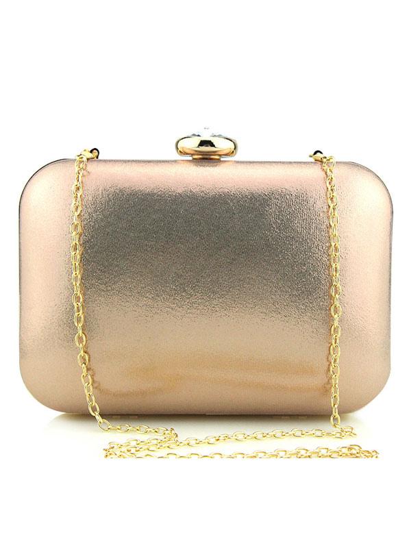 Buy Champagne Clutch Bag Wedding Bridal PU Rhinestones Evening Handbags for $27.89 in Milanoo store