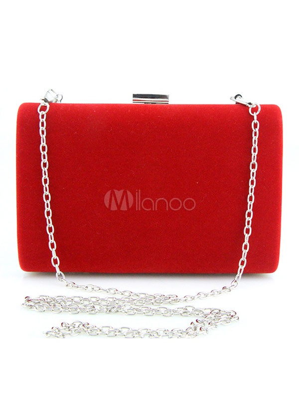 Red Evening Bag Brushed Metallic Single Strap Bags For Women