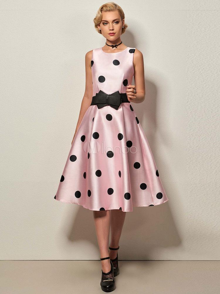 Abbigliamento vintage rosa donna smanicato con scollo tondo fiocchi cotone  misto ,No.1