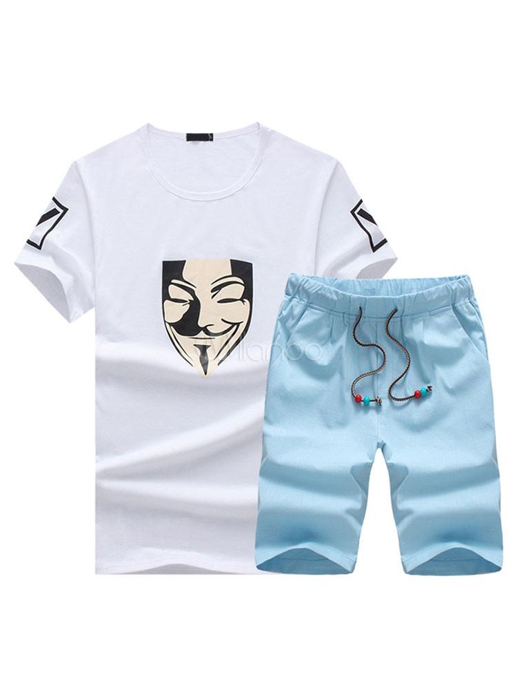 Ropa Deportiva Con Escote Redondo Con Dibujo De Anime De Acero Con Top Con Pantalones Sets Estampada Milanoo Com