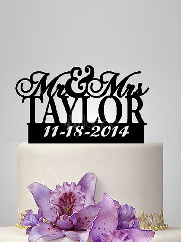 Wedding Cake Toppers Black Mr And Mrs Personalized Wedding Decorations