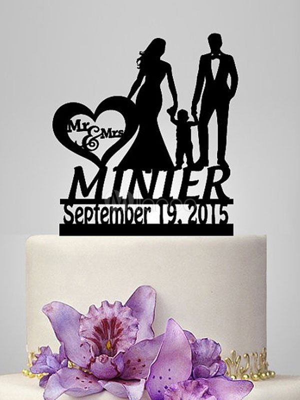 Wedding Cake Toppers Black Date Personalized Mr And Mrs Wedding Decorations