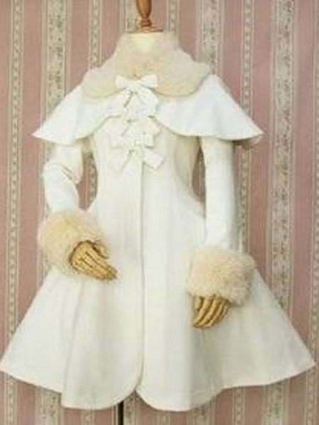 Buy Gothic Lolita Overcoat Bows A Line White Lolita Coat With Detachable Fur And Cape for $119.99 in Milanoo store