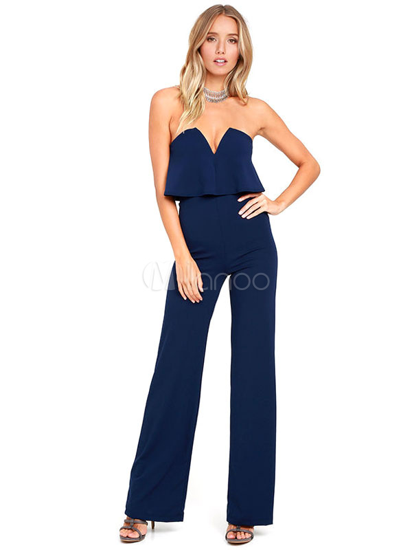 Buy Women's Blue Jumpsuit Strapless Sleeveless Layered Frill Straight Leg Playsuit for $27.19 in Milanoo store
