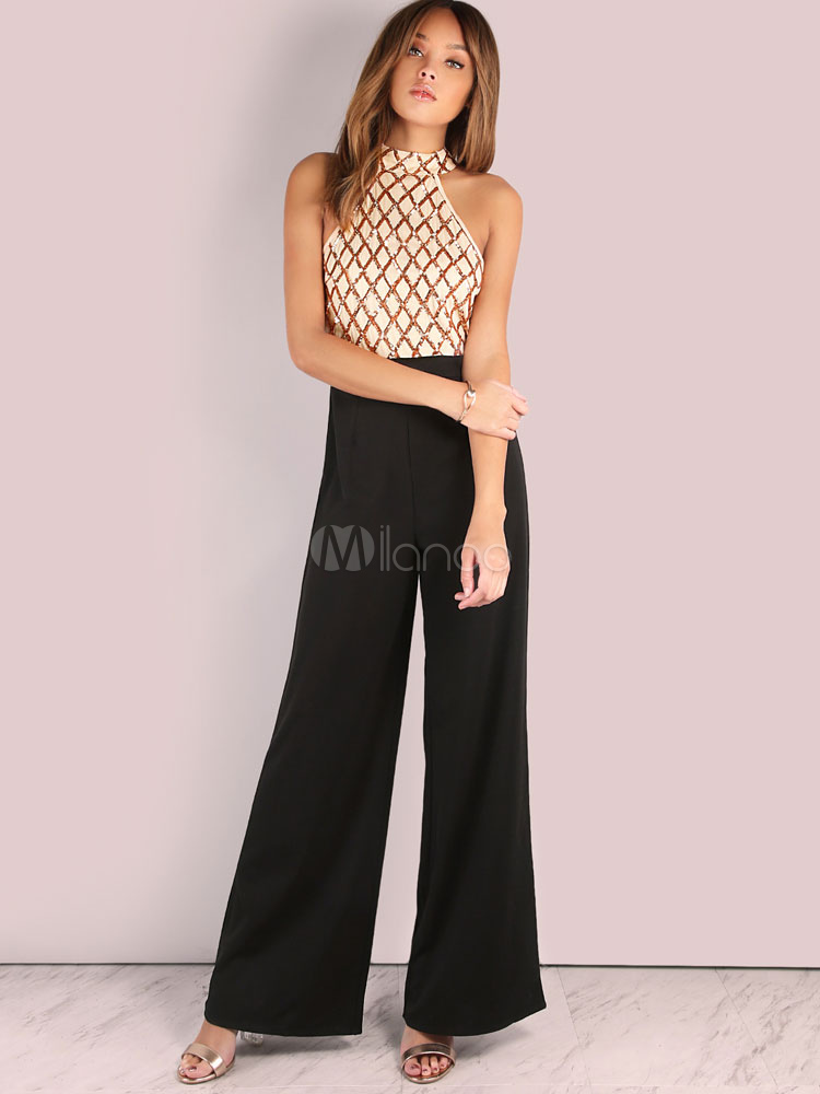 el más nuevo diseño unico venta oficial Monos 2019 con escote alto con dibujo de romboide para moldear el cuerpo  negro de poliéster sin mangas estilo modernopara mujer