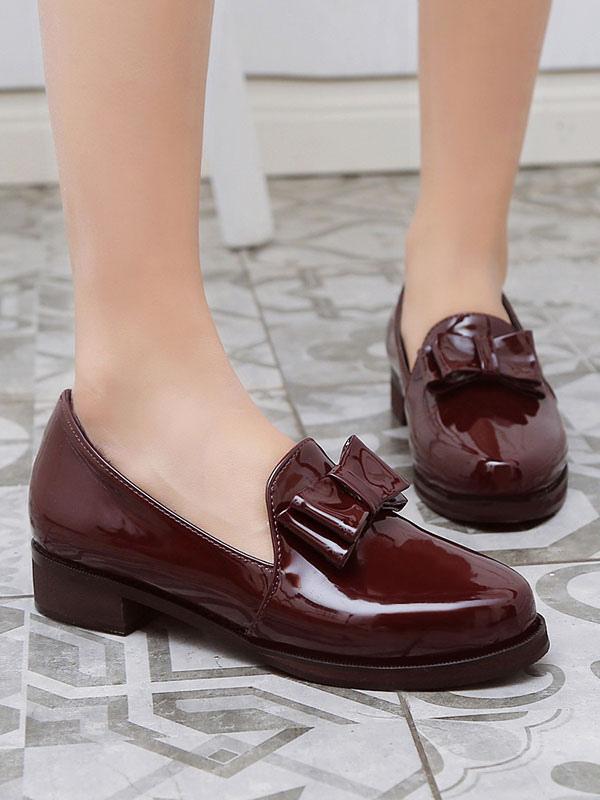 Zapatos Mocasín de puntera redonda slip-on de tacón gordo Color liso con lazopara ocasión informal estilo informal para mujer 75kbM