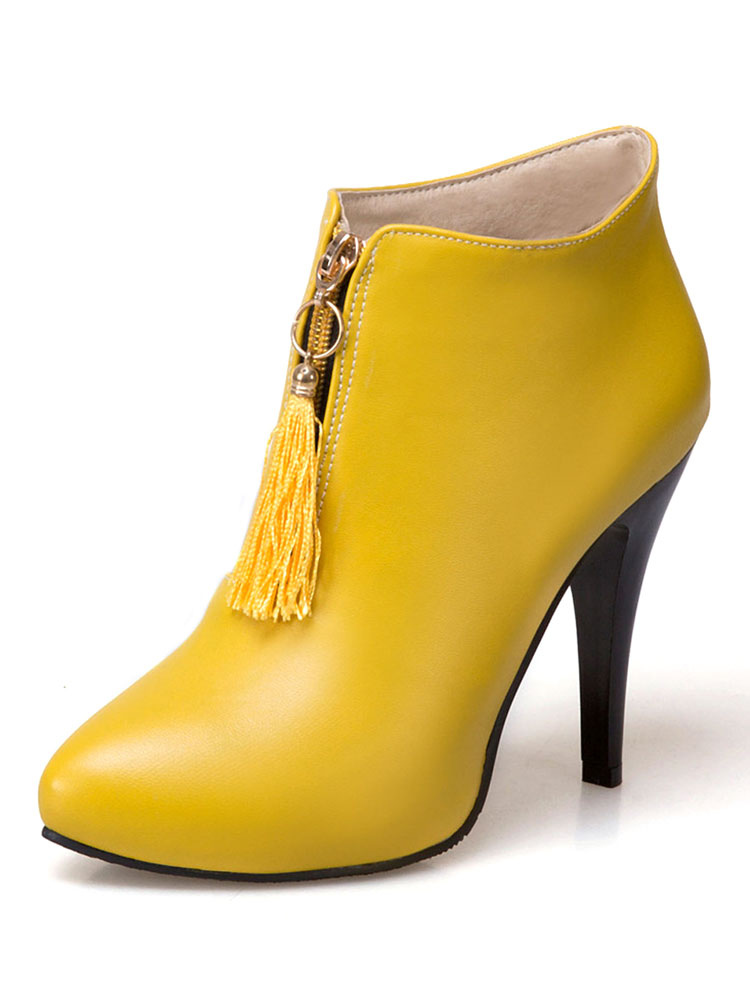 Women's Yellow Boots High Heel Pointed Toe Color Block Stiletto PU Booties With Tassel