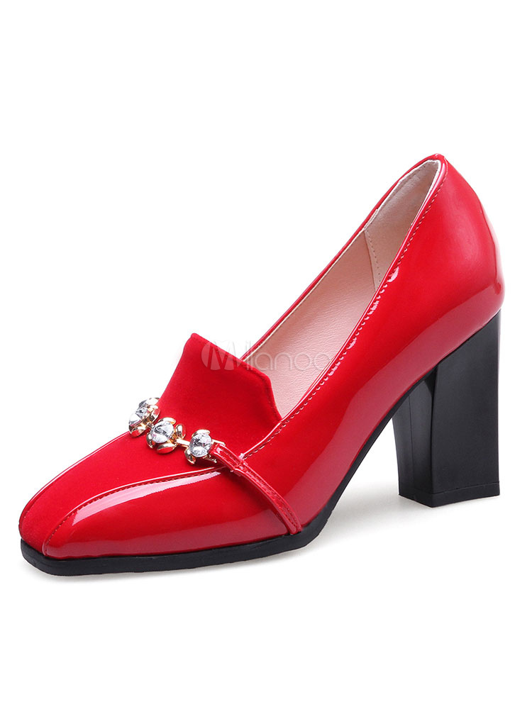 Buy Women's Red Pumps Chunky Heel Square Toe Rhinestones PU Slip On Shoes for $30.39 in Milanoo store