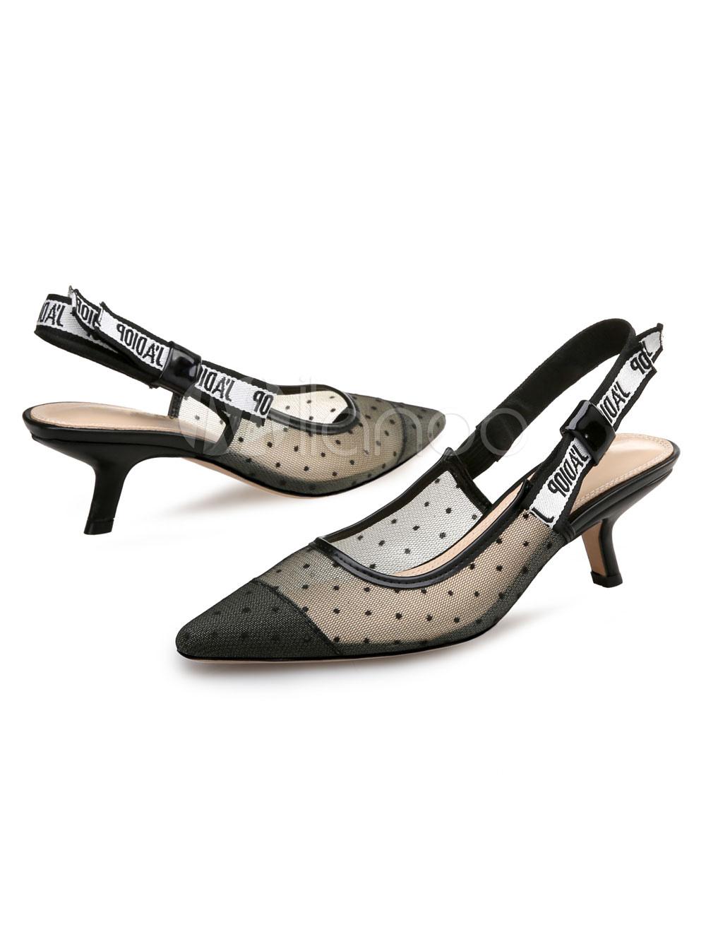 purchase cheap c37c3 28eab Scarpe con tacco medio donna pizzo nere tacco basso e fino 5.5cm a punta  fiocchi decolletè fuori