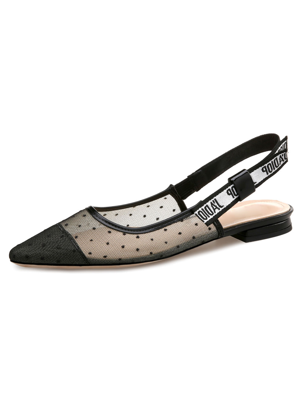 Women's Black Flats Lace Pointed Toe