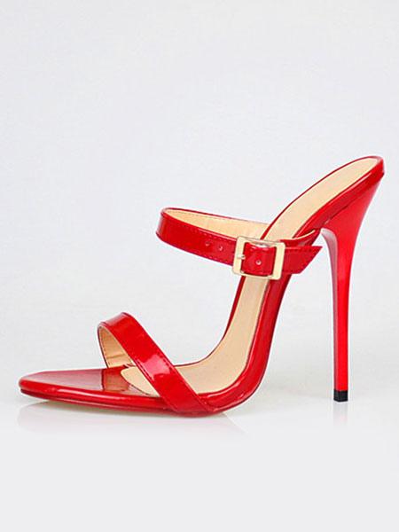 White Sandal Slippers Women's High Heel PU Stiletto Sandal Shoes