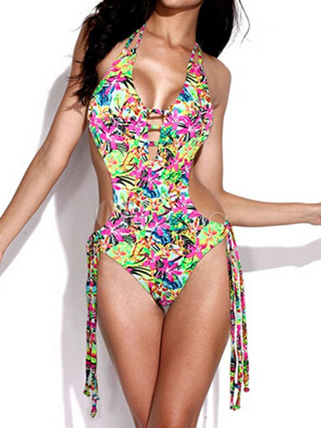Buy Green Monokini Swimsuit Halter Sleeveless Floral Print Strappy One Piece Women's Bathing Suits for $13.19 in Milanoo store