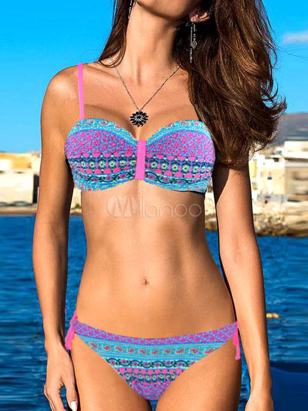 Rose Bikini Swimsuit Sleeveless Floral Print Spaghetti Two Piece Women's Bathing Suits