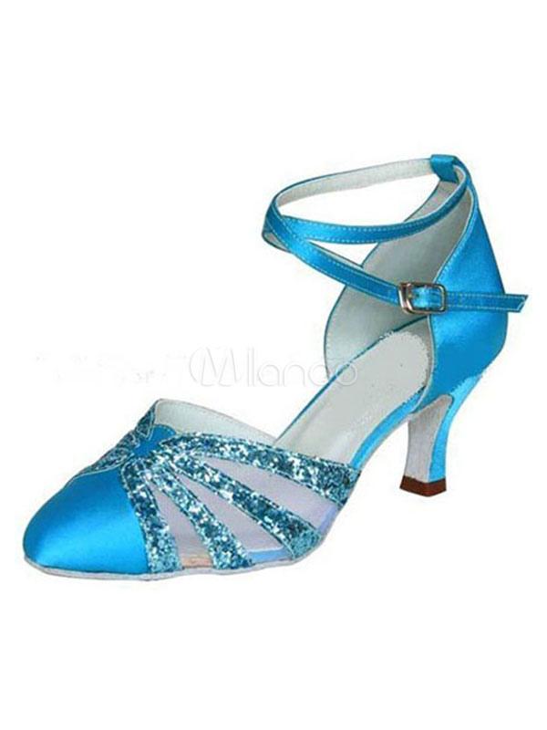 bailes baile de de puntera Zapatos azul latinos para bobina puntiaguada de satén Tacón 5Rw8q87