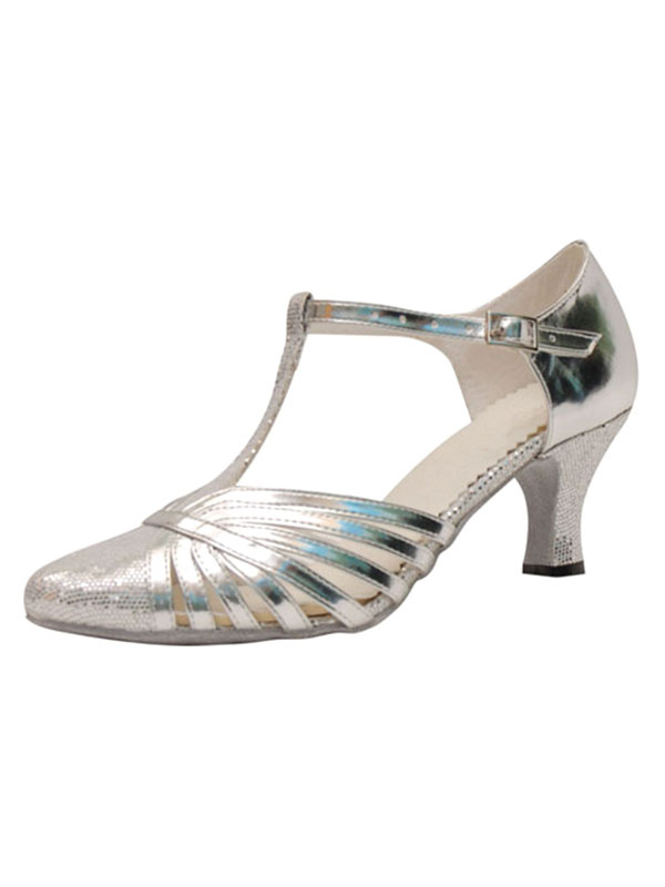 Silver Ballroom Shoes Mid Heel Sequined Pointed Toe T Type Buckle Detail Dance Shoes