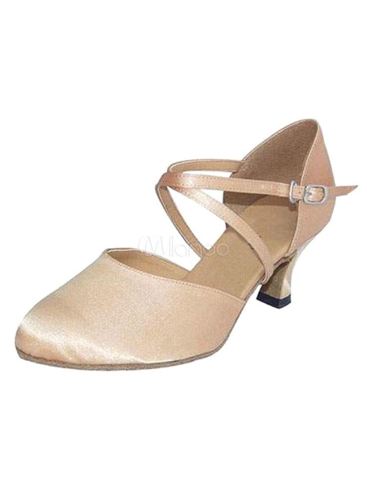 Zapatos de bailes latinos de puntera puntiaguada Tacón bobina de satén para baile PalcsnMgDH