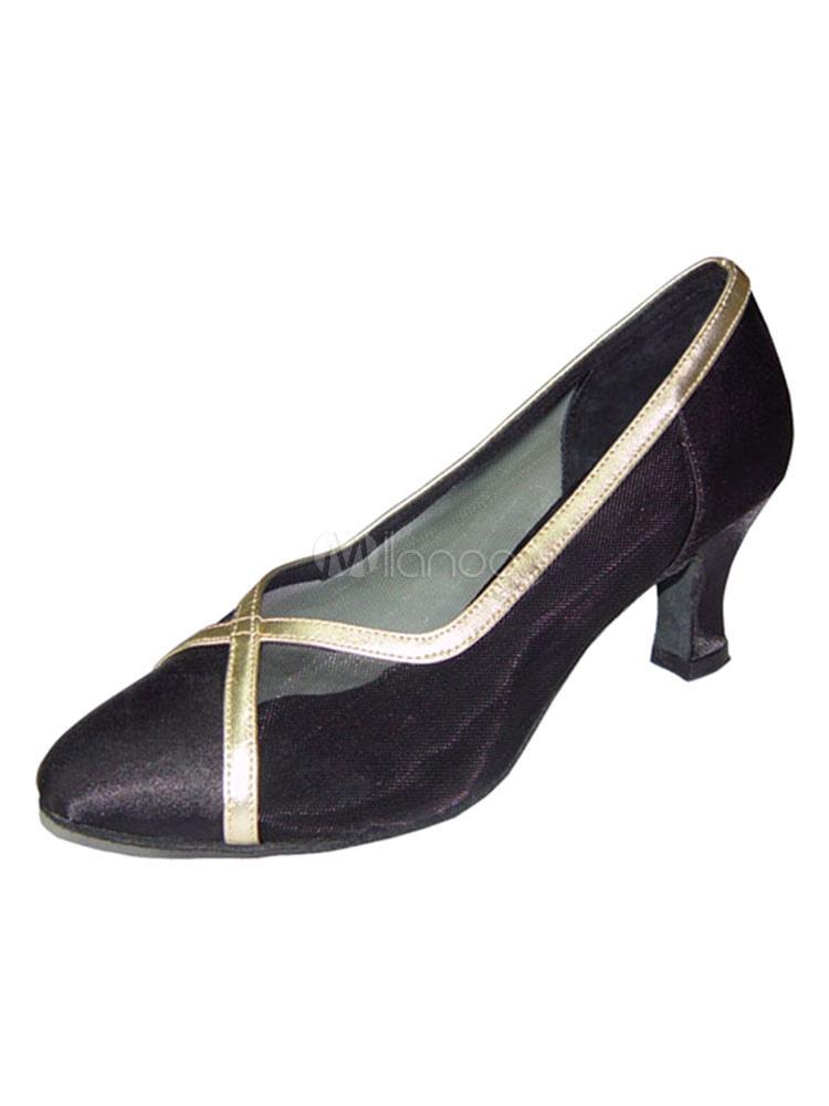 Zapatos de bailes latinos de malla Tacón bobina para baile de puntera puntiaguada uNhkKzVfp