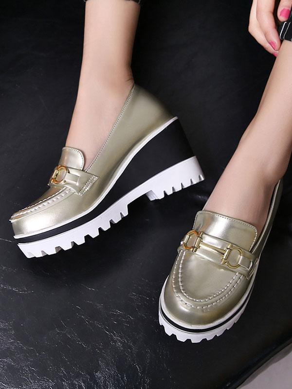 Zapatos Mocasín de puntera redonda slip-on de tacón de cuña Color liso para ocasión informal estilo informal para mujer IhplBlMU