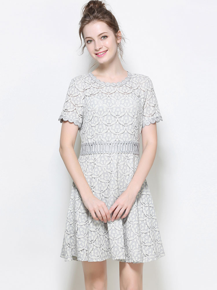 Grey Lace Dress Round Neck Short Sleeve Slim Fit Skater Dress Cheap clothes, free shipping worldwide