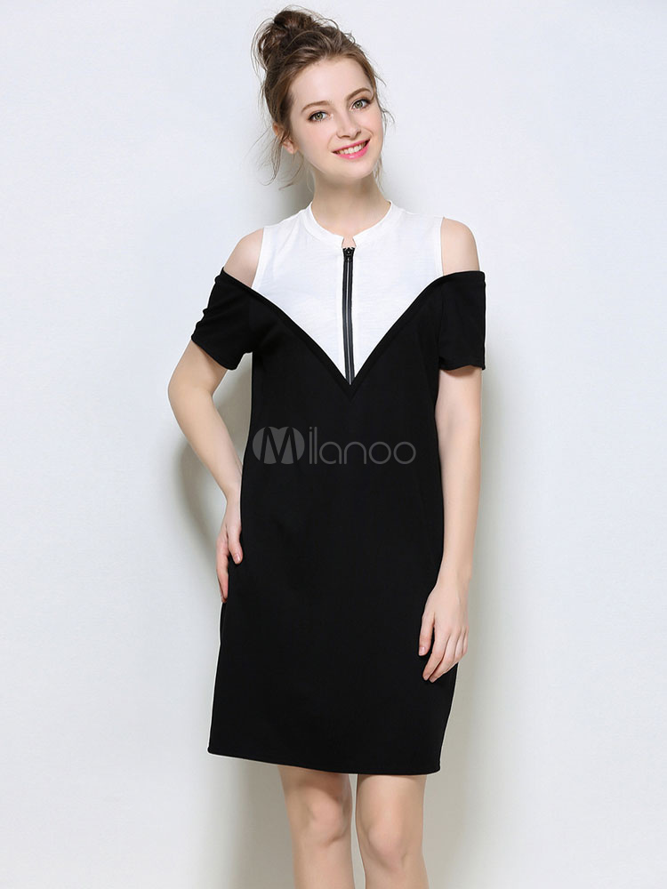 Buy Black Shift Dress Women's Round Neck Short Sleeve Cold Shoulder Cotton Dress for $37.99 in Milanoo store