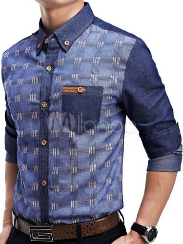 Printed Blue Shirts Long Sleeve Men's Casual Shirt