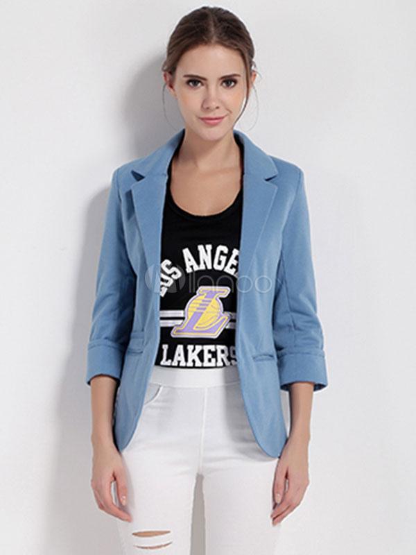 Blazer Americanas mujer de poliéster de cuello vuelto Color liso sencilla estilo  informal-No. 57fdb68360ba