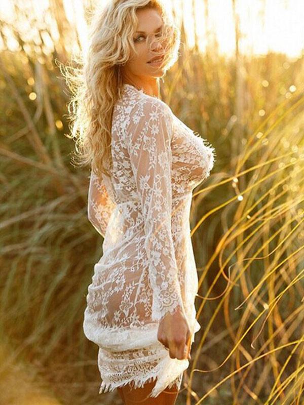 White Cover Ups Lace Sheer Plunging Neck Long Sleeve Women