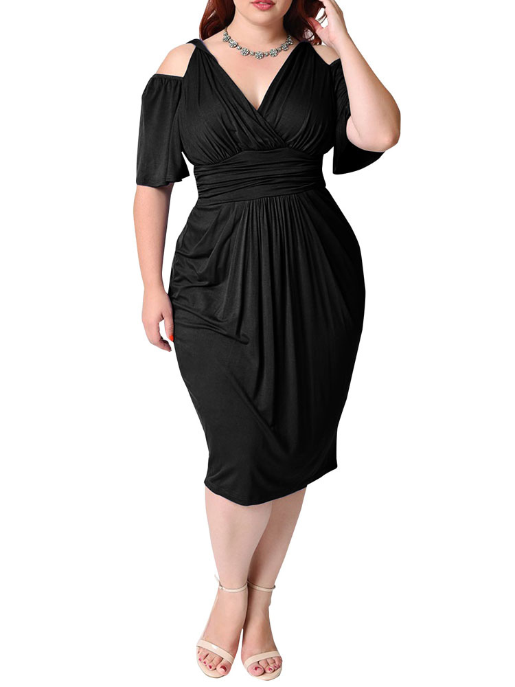 33d58ef21 ... White Bodycon Dress Plus Size Silk Cold Shoulder V Neck Draped Ruched  Women's Wrap Dress- ...