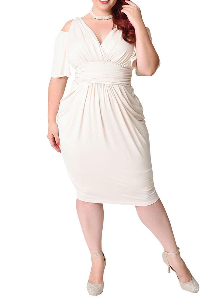 White Bodycon Dress Plus Size Silk Cold Shoulder V Neck Draped Ruched  Women\'s Wrap Dress