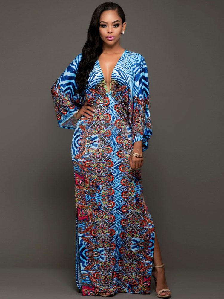 01c1f9cbc16 Blue Maxi Dress Boho V Neck Plunging Neck Long Sleeve Floral Print Split Plus  Size Women s ...
