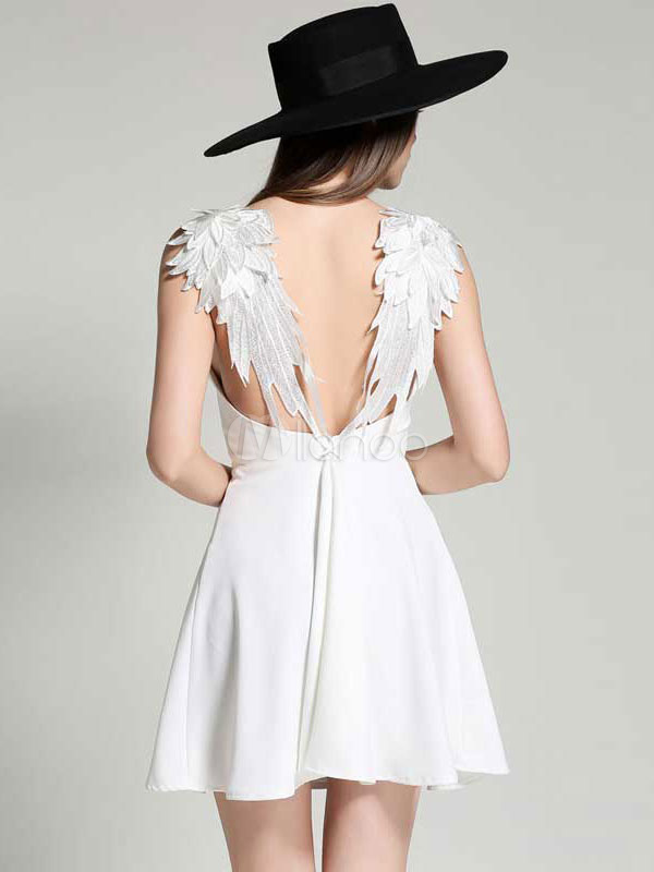 1fbbf9be107 ... White Skater Dress Spaghetti Strap Angle Wings Design Backless Pleated  Flare Dress-No.2 ...