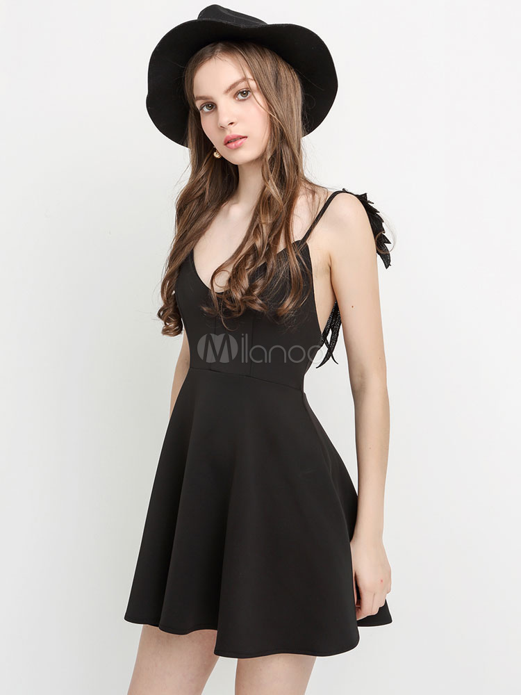 88ebcaf4258 ... White Skater Dress Spaghetti Strap Angle Wings Design Backless Pleated  Flare Dress-No.3 ...