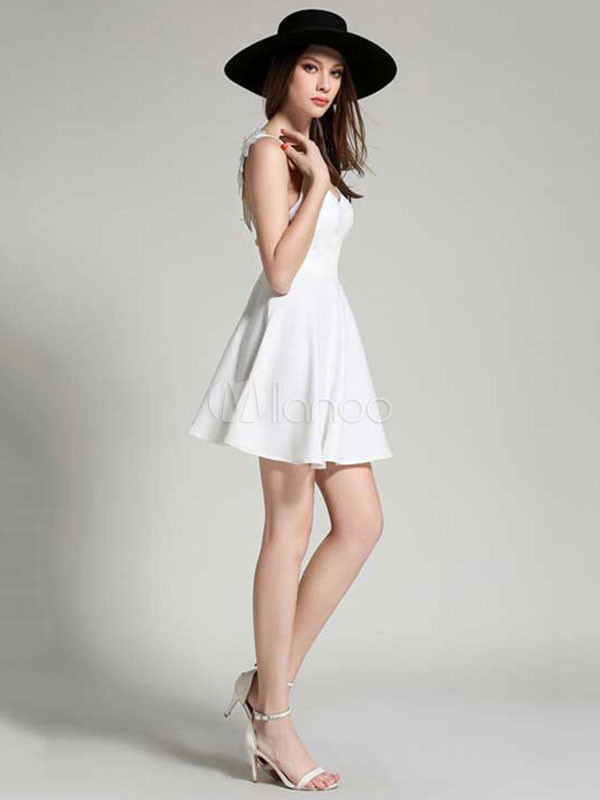 3df3976f15c ... White Skater Dress Spaghetti Strap Angle Wings Design Backless Pleated  Flare Dress-No.4