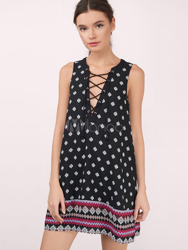 Black Summer Dress V Neck Sleeveless Criss Cross Floral Print Women's Shift Dresses