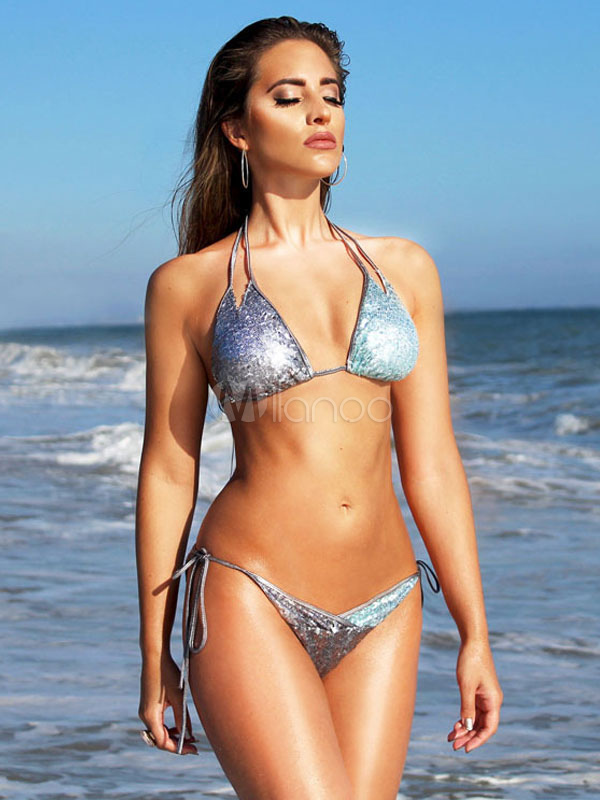 Silver Bikini Swimsuit Halter Sleeveless Metallic Two Piece Women's Bathing Suits