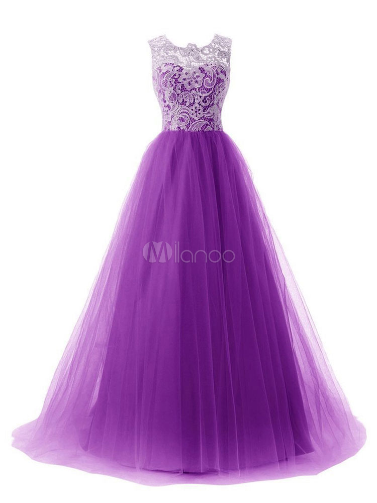 Buy Long Prom Dress Women Sleeveless Round Neck Formal Dresses Purple Lace Tulle Patchwork Tu Tu Dresses for $34.68 in Milanoo store