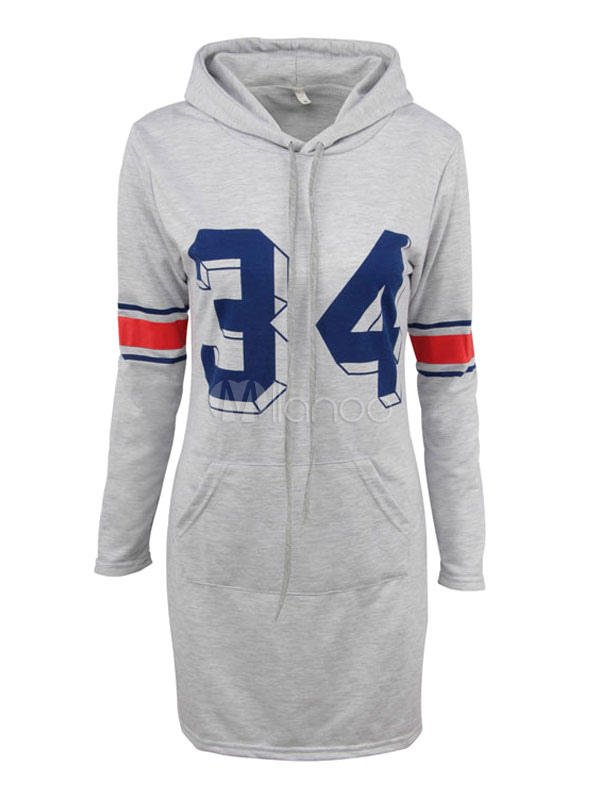 Buy Women's Shift Dress Light Grey Hooded Long Sleeve Letters Print Hoodie Dresses for $26.99 in Milanoo store