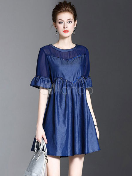Buy Blue Skater Dress Round Neck Bell Half Sleeve Pleated Short Dress For Women for $37.99 in Milanoo store