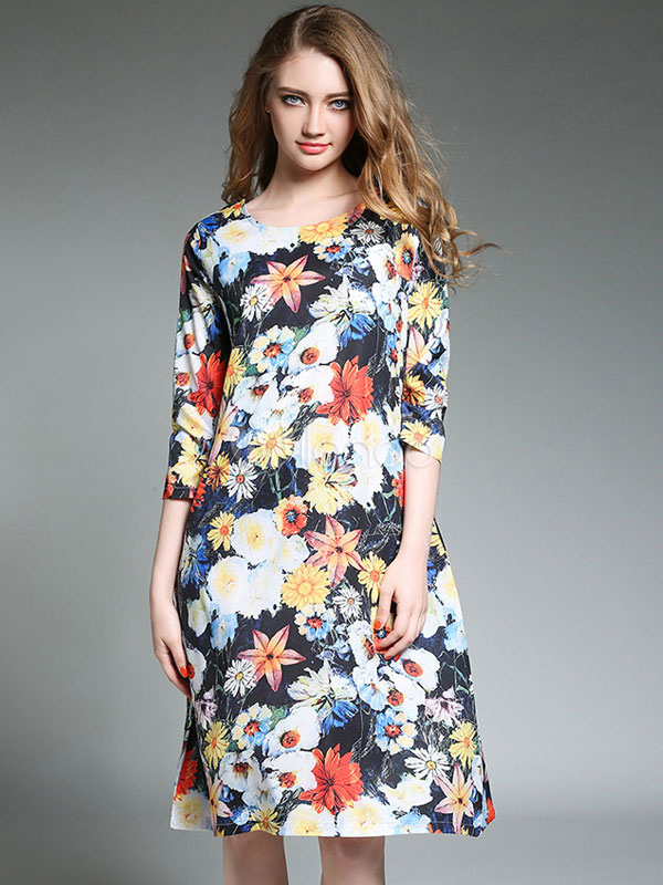 Buy Blue Shift Dress Round Neck Half Sleeve Floral Print Women's Summer Dresses for $29.23 in Milanoo store
